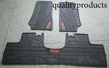 Black with logo rubber TPE Material Floor Liner Kit Mat For Jeep Wrangler Unlimited JK 4 Door 2007-2015