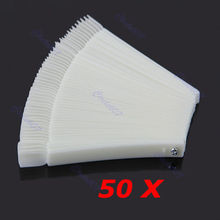 Free Shipping 50x Fan-shaped Natural False Tips Sticks Polish Display Nail Art supply selling
