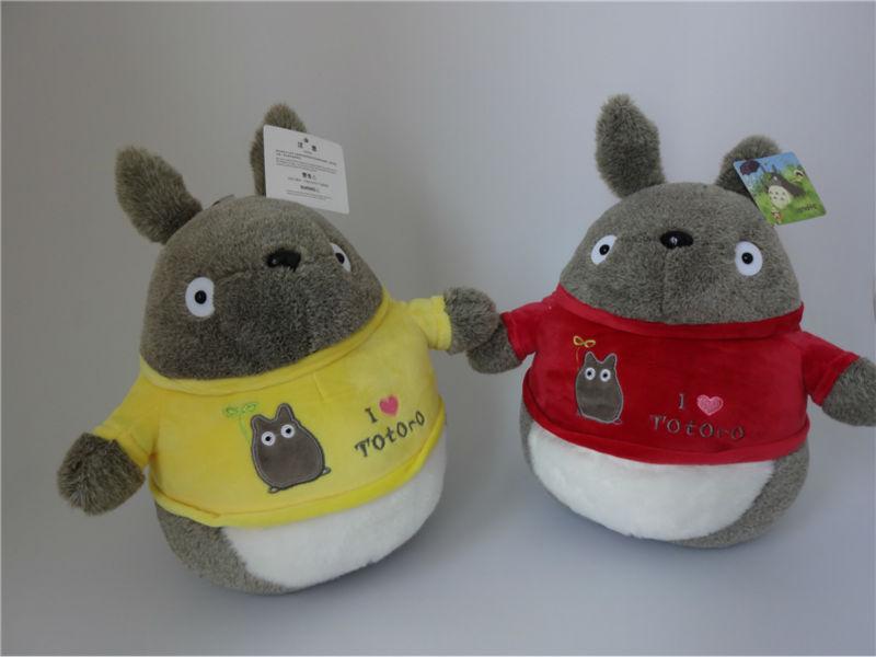 "1pc 35cm/14"" Plush PPcotton cute Japan Miyazaki Hayao Movie Totoro wearing clothes sitting Stuffed toy birthday gift(China (Mainland))"