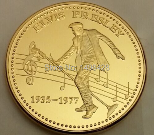 Elvis Presley Gold Coin Americana Sings Blues Rock Pop Memphis Tennessee Signed+10 pcs/lot Free shippiing(China (Mainland))