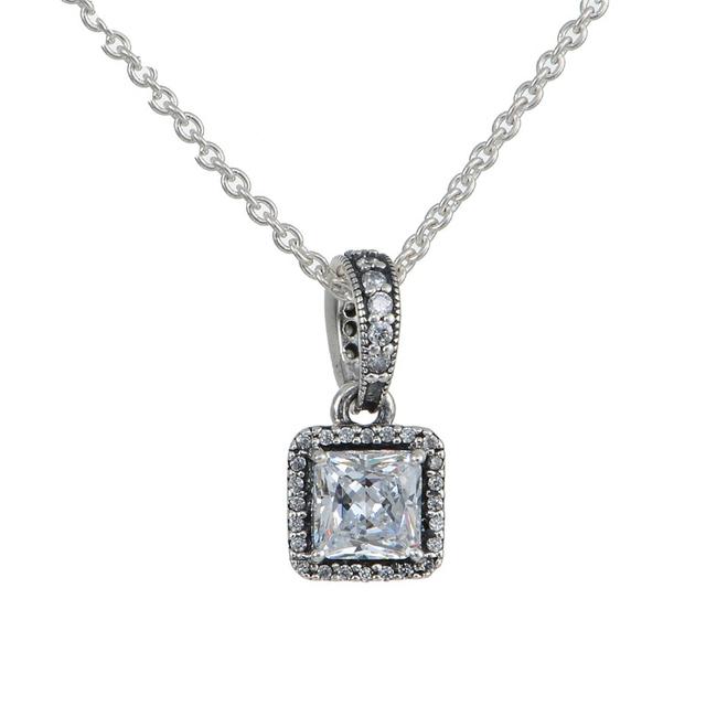 100% серебро 925 ювелирные элегантность CZ ожерелье длина цепи 45 см женщин DIY ожерелье ювелирные изделия европейских фирменный стиль