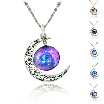 Fine Jewelry Glass Galaxy Lovely Pendant Silver long Chain alloy hollow Moon Pendant Necklace for women gisft summer beach style(China (Mainland))