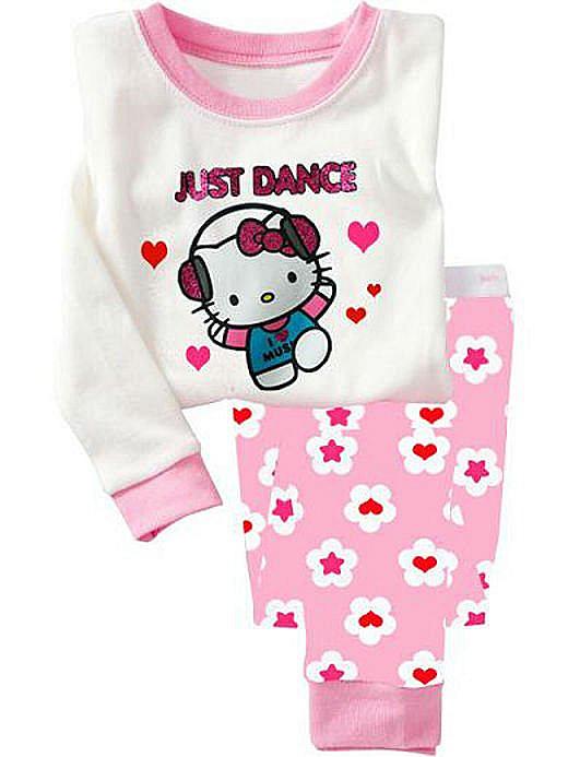 P296, Hello Kitty, 100% Cotton Rib long sleeve T shirt + pant, Baby/Children pajamas/sleepwear/clothing sets for 2-7 year.<br><br>Aliexpress
