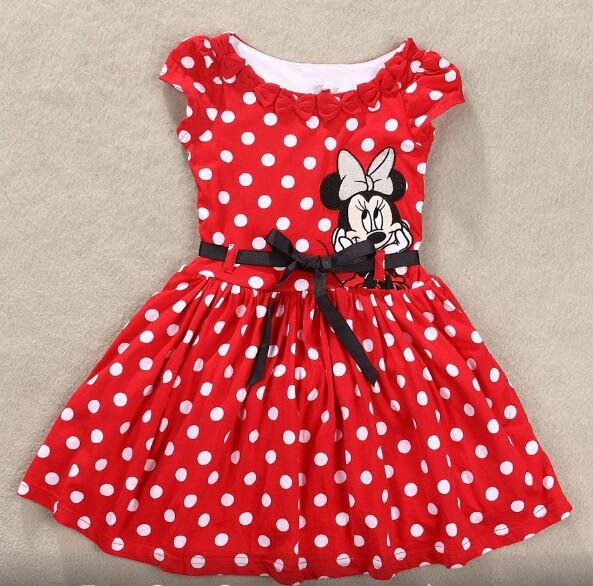 2015 New Summer Girls Dress Tutu Princess Baby Mickey Minnie Mouse Dress Dot Baby Casual Paty Dress for 2-6 Years Kid Dress(China (Mainland))