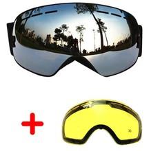 Copozz лыжные очки двойные линзы анти-туман большой Очки Лыжный Спорт унисекс сноуборд очки сферические маска лыжные очки ua400 + объектив(China)