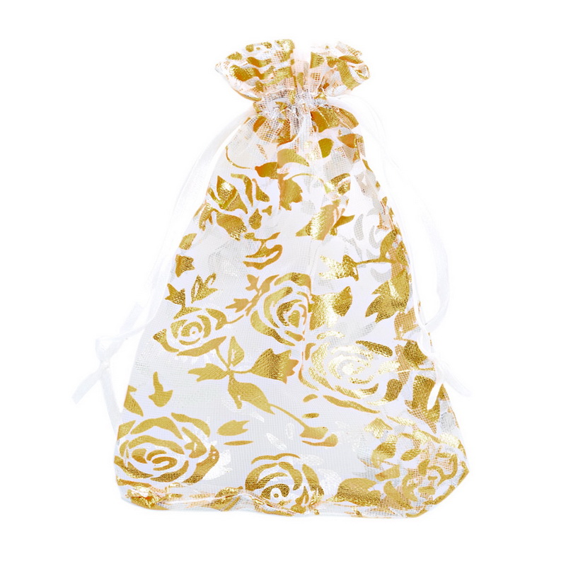 25PCs 9.8cm x14cm White Gold Rose Organza Gift Bags Wedding/Christmas Favor For Jewelry Packaging(China (Mainland))