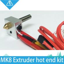 HOT 3D printer MK8 Extruder hot end kit 0 4mm nozzle heating MK8 Extruder hot end