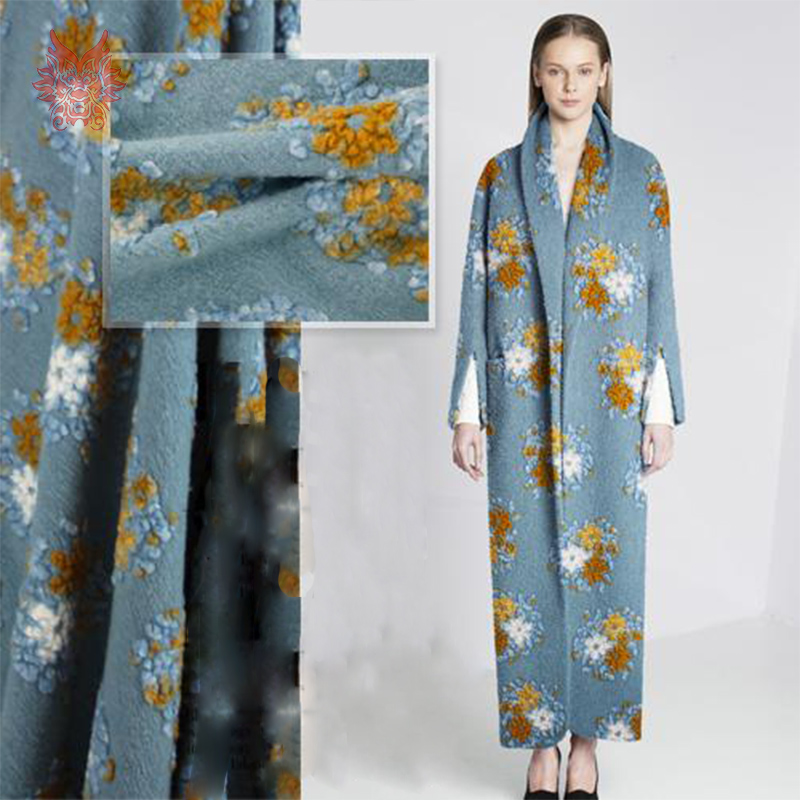 European/American style blue/yellow floral jacquard cashmere/wool fabric for winter coat/dress/suits SP2372 Free ship(China (Mainland))