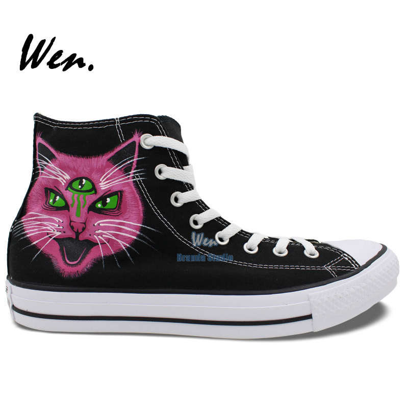 Cat With Three Eyes Totem Painted Shoes Canvas Shoes Custom Birthday Gifts Womens Mens Shoes Hand Painted Art<br><br>Aliexpress