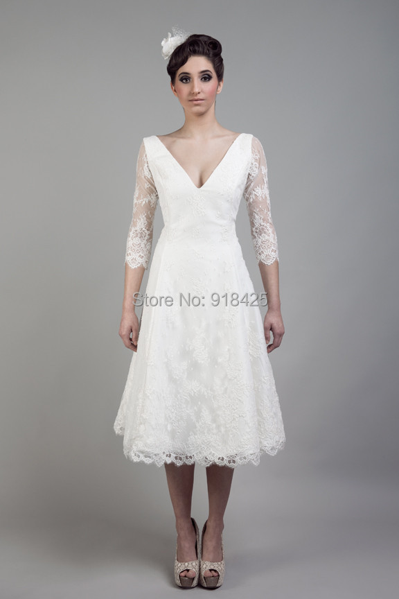 Style v neck a line bridal short ivory lace tea length wedding dresses