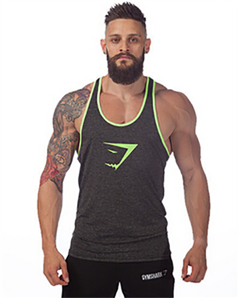Tank top men bodybuilding clothing fitness mens sleeveless for Dress shirts for athletic guys