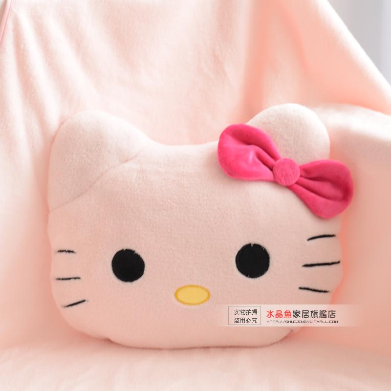 Cute pillow blanket dual Large child cartoon HELLO KITTY coral fleece cushion siesta blanket air ...