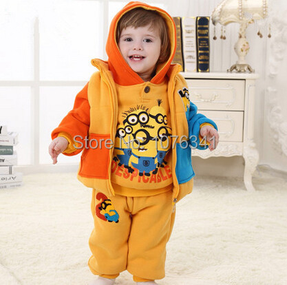 3pcs Baby's Clothing Sets Winter Warm Thick Hooded Hoody+pants+Vest Infantil Babies Clothes Set Cartoon Babi girls/boys Suit(China (Mainland))
