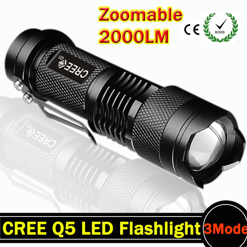 Black LED Torch CREE Q5 LED Flashlight Adjustable Focus tactical Torch Zoom Flash Light Lamp Super Mini For Camping(China (Mainland))