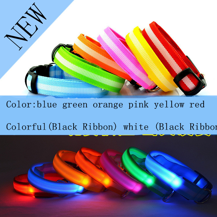 100pcs LED flashing dog collar LED pet collar necklace/cat collar Nylon webbing 8colors DHL free shipping(China (Mainland))