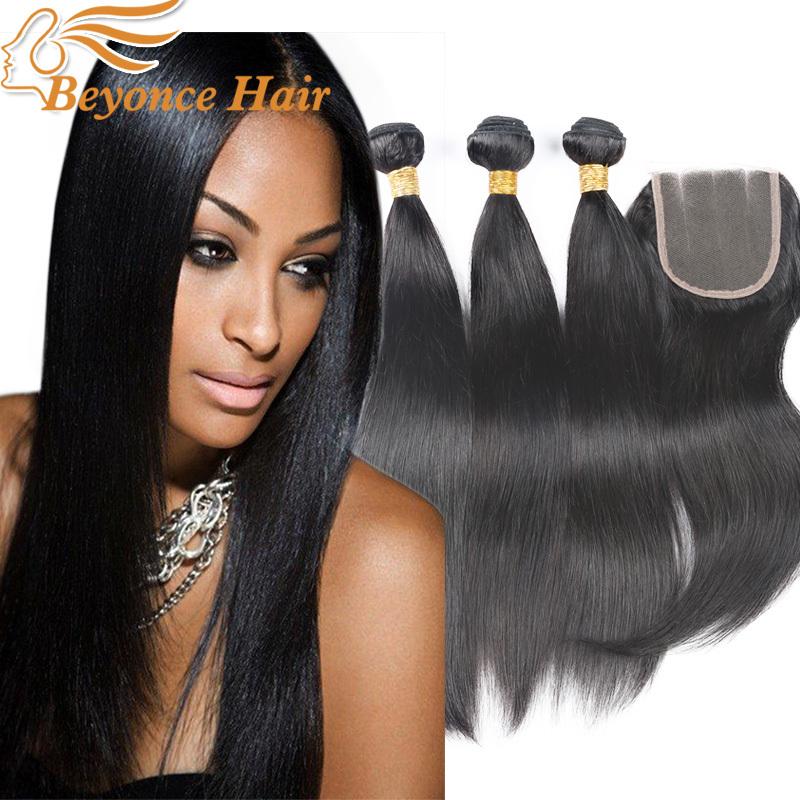 Здесь можно купить  3 bundles brazilian virgin hair straight with closure 7A virgin Brazilian hair straight human hair weave bundles with closure  Волосы и аксессуары