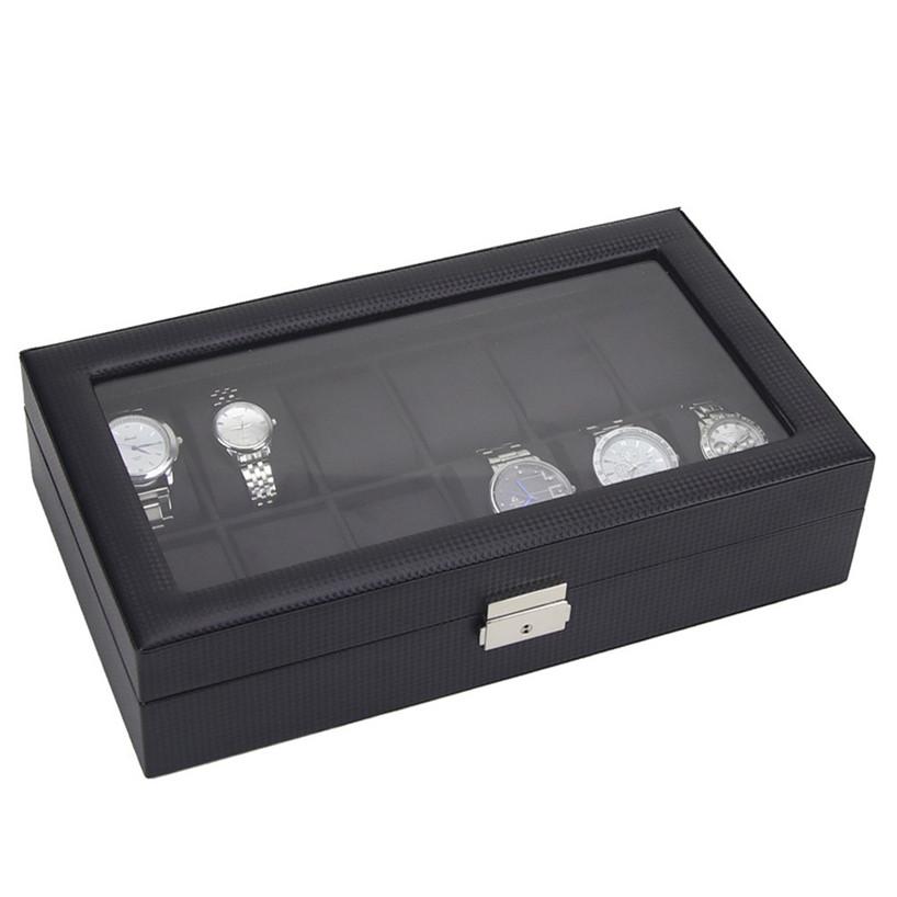 popular watch display case for men buy cheap watch display case 12 watch display leather case top glass jewelry organizesr storage boxes men nov30