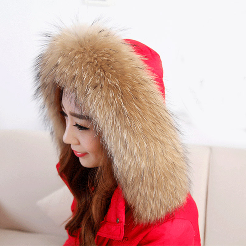 100% Real Raccoon Fur Scarf Women Natural Raccoon Fur Collar Winter Warm Fur Collar Scarves Design For Lady Long 80cm Width 13cm(China (Mainland))