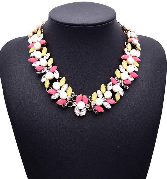 XG176 New Arrival 2015 Fashion Brand Za Necklace Jewelry Chunky Multi color Beads Crystal Statement Necklace