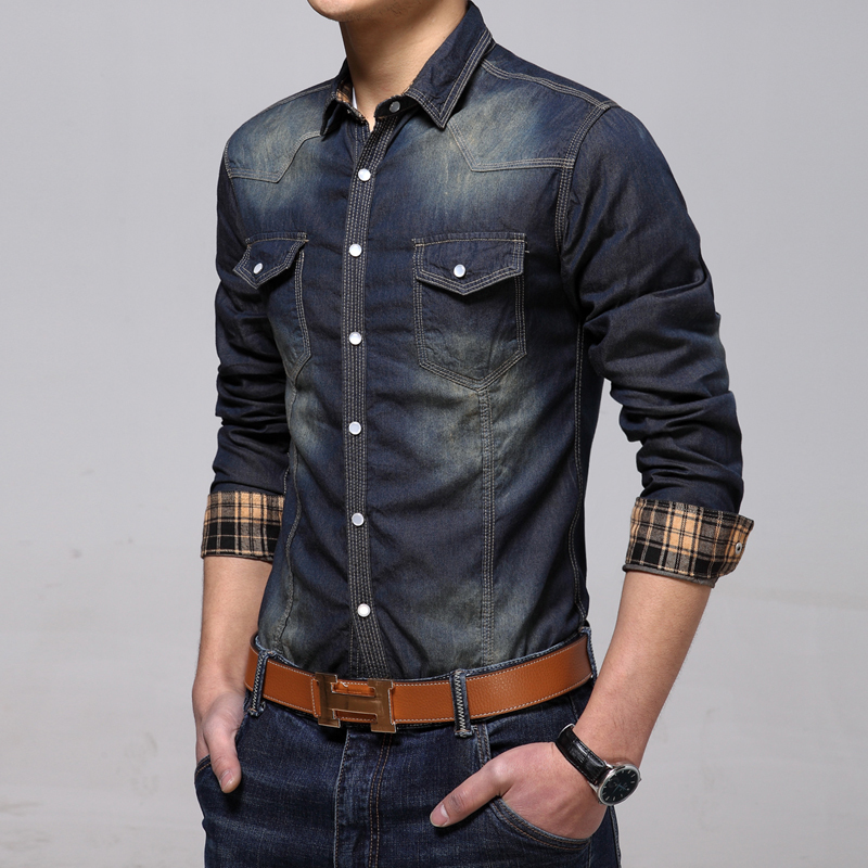 Jeans shirts for mens is jeans for Mens slim fit long sleeve shirts