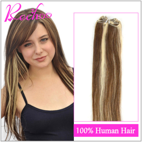 22 Inch Brazilian Straight Hair Weave 100G/Pc Remy Human Hair Extensions Full Head Natural Hair Blonde Brown Mixed Color