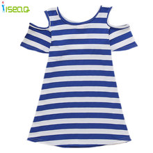 Girls Dresses Summer 2016 Cotton Girl Dress Kids Dresses Toddler One Piece Blue white Striped Robe Enfant Clothing BD024