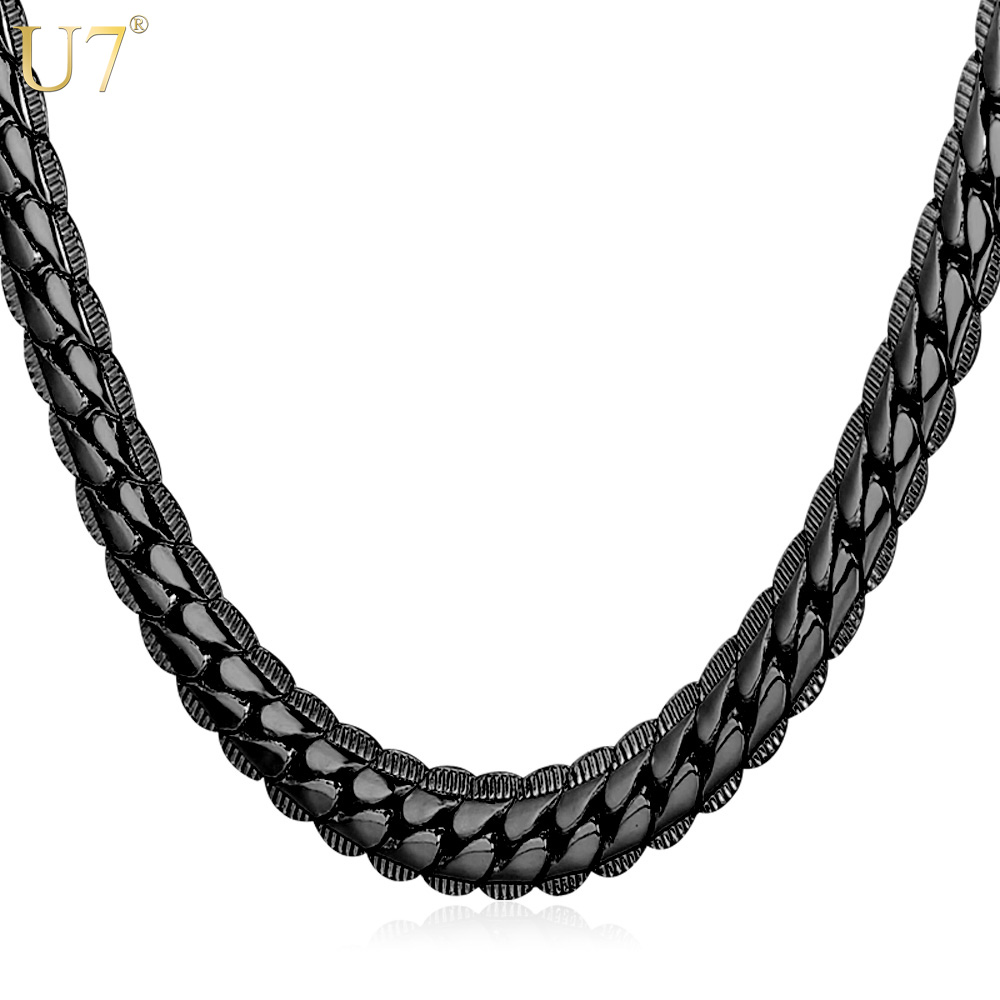 U7 2016 Black Long Necklace For Mens Fashion Gun Plated Wholesale Trendy 6 Size 6 MM Wide Snake Chain Necklace Men Jewelry N559(China (Mainland))