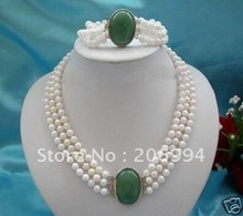 3Rows 7-8mm White Pearl+jade clasp necklace bracelet(China (Mainland))
