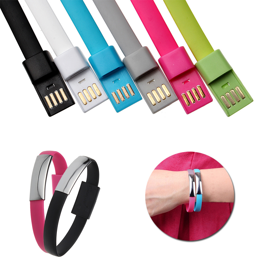 New Wristband Bracelet Style Cord TPE Flat 8 Pin USB Data Sync Portable Charging Cable for iPhone 6 6 Plus 5/5S/5C For iPad Nano(China (Mainland))