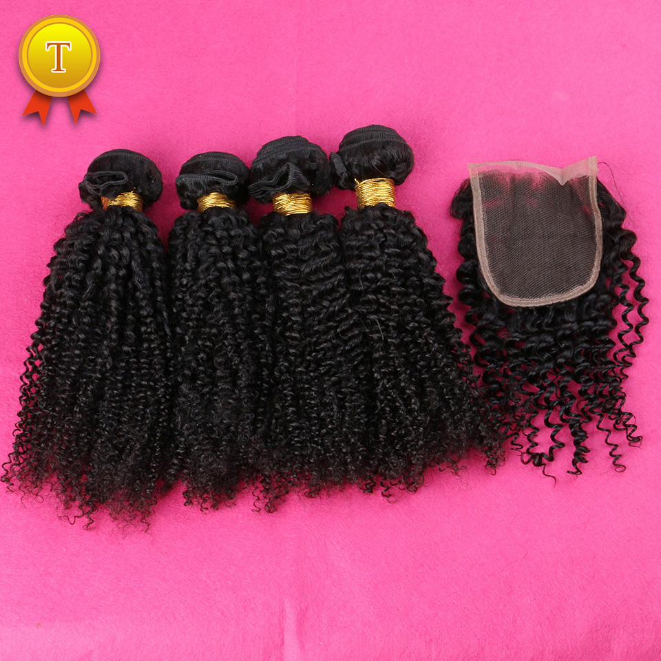 7A Grade Slove Virgin Malaysian Kinky Curly Hair Bundles with Lace Closure 5 pieces/Lot ,Kinky Curly Virgin  Hair Human Weave<br><br>Aliexpress