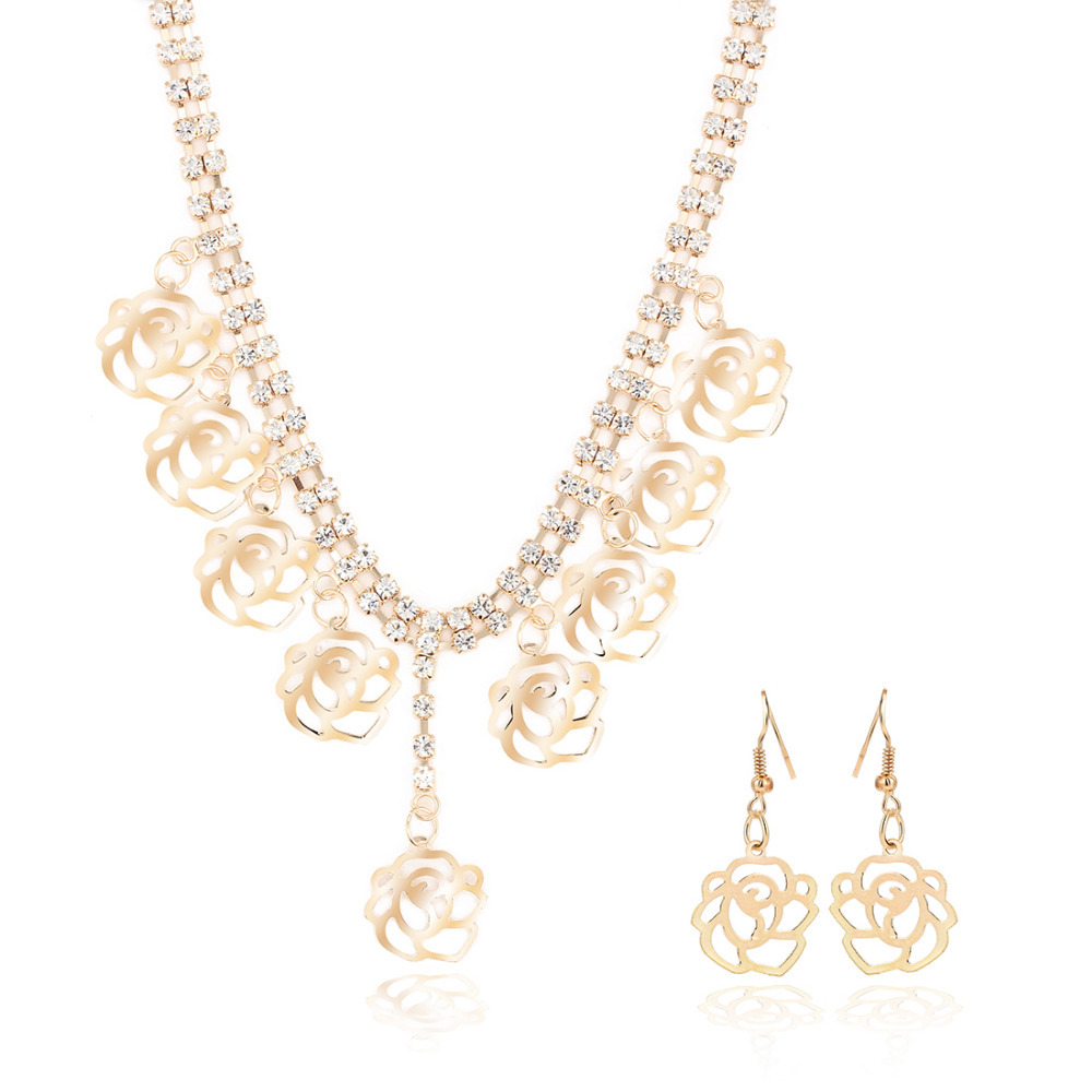 GR JEWELRY 2015 Fashion Luxurious Fine Jewelry 2 PC Set Gold Plating Flower Jewelry Sets (necklace+earing)(China (Mainland))