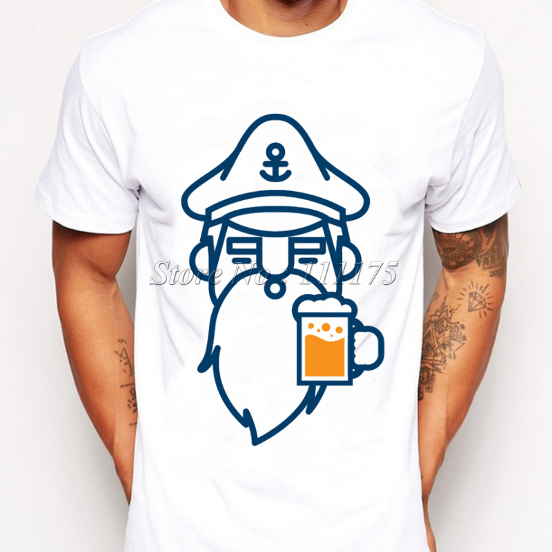 2016 Newest Men Fashion Beer Man Design T shirt Novelty beard printed Tops Gentleman Custom Printed Short Sleeve Tees(China (Mainland))