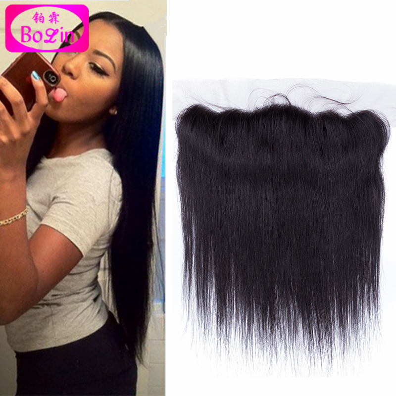 Фотография 6A Virgin Straight Brazilian Lace Frontal Closure 13x4 With Free Shipping Unprocessed Hair Ear To Ear Lace Closure Bleached Knot