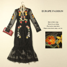 Vintage Dress 2015 Fashion Spring Brand Full Flare Sleeve Grid Hollow Out Flower Embroidery Slim Trumpet Black Luxury Dress(China (Mainland))
