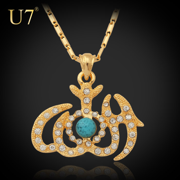 Allah Pendants Items Women/ Men Jewelry Wholesale 18K Real Gold Plated Turquoise & Rhinestone Islamic Necklaces & Pendants P377(China (Mainland))