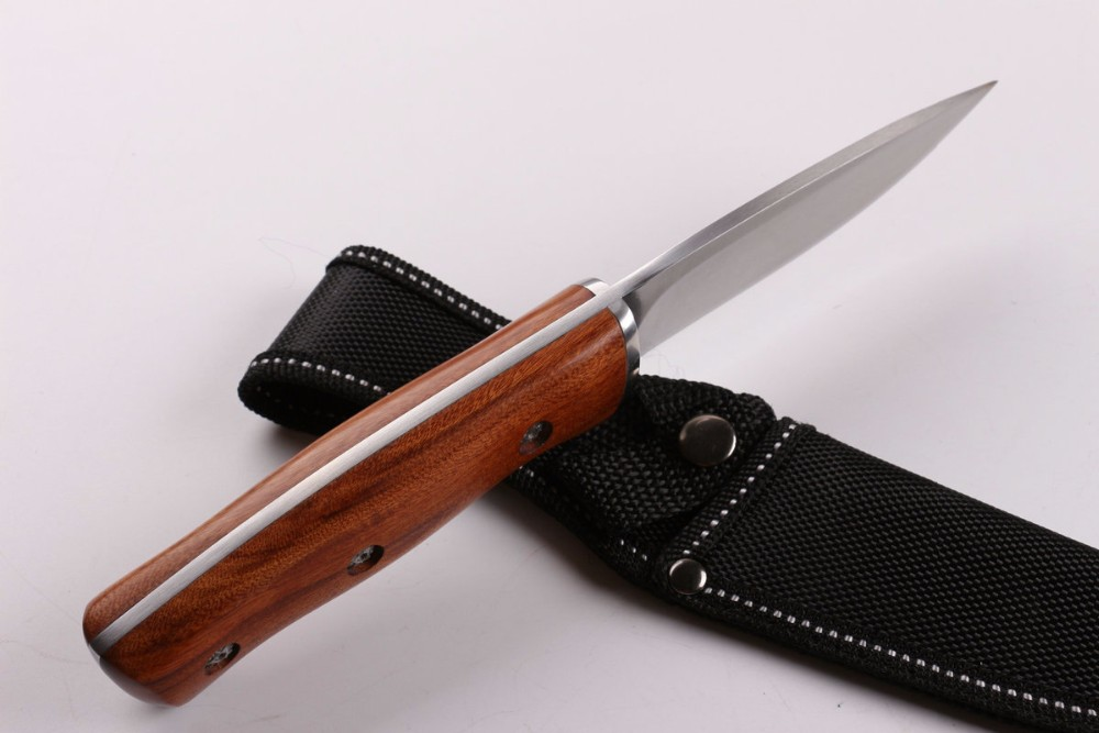 Buy Bright Wood Handle Fixed Blade Knife Tactical Hunting Knife Survival Hunting Knives EDC T cheap