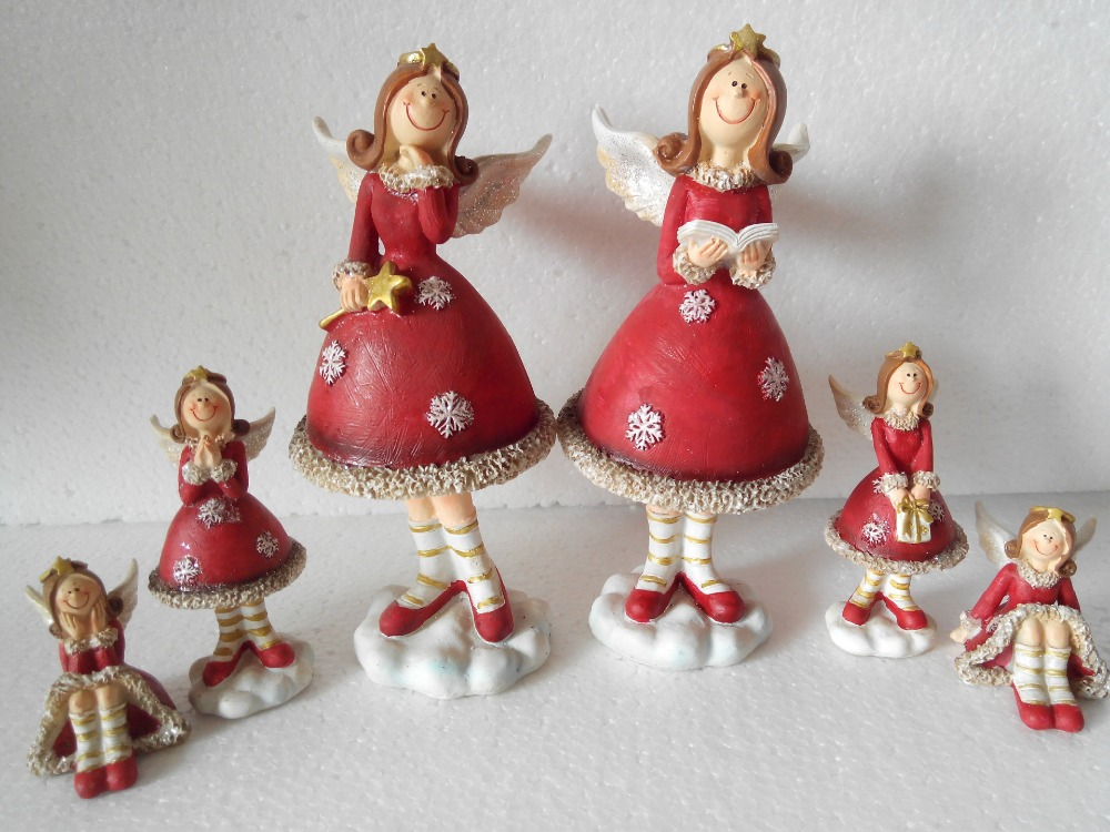 6 pcs Home Decoration Resin Angels Merry Christmas Fairy Room Ornament Decoration Resin Figurines Angels Status Home Desk G(China (Mainland))