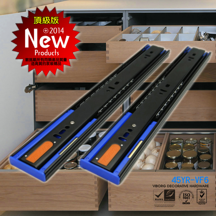 """VIBORG 40CM(16"""") Top Quality Smooth&Quiet Three Sections Hydraulic Soft Close Full Extension Ball Bearing Drawer Slide(China (Mainland))"""