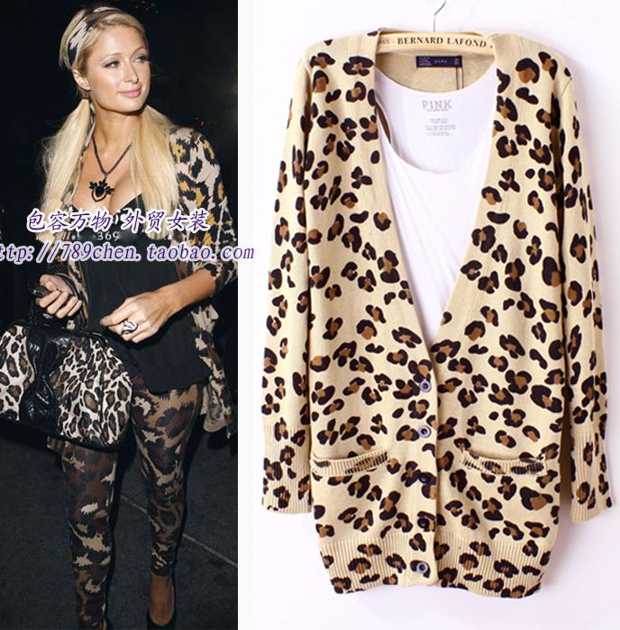 High Fashion Fall 2013 Paris Style Leopard Cardigans Women Casual Long Sleeve Knitting Sweaters Jumpers Outerwear(China (Mainland))