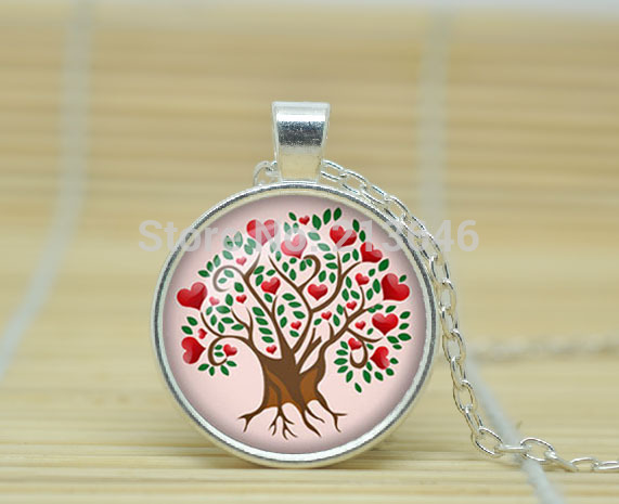 1pcs Heart Tree pendant Love Tree necklace Heart Tree of life jewelry nature pendant Woodland Glass Cabochon Necklace A0994(China (Mainland))