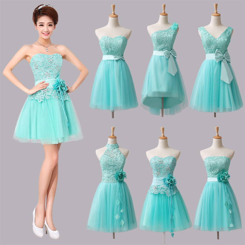 Strapless prom dresses mint green short bridesmaid dresses for Short green wedding dresses