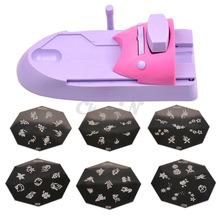 Nail Art Printer DIY Pattern Stamping Printing Machine + 6 Metal Pattern Plates Colors Drawing Nail Printer Nail Art Tools MR022(China (Mainland))