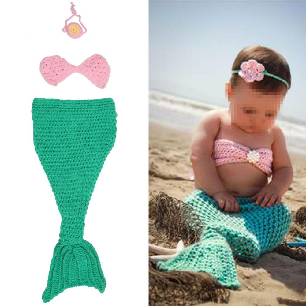 Retail Baby Newborn Photography Props Costume Hand Crochet Knit Infant Beanie Hat with Cape Mermaid Costume Cute Props Set(China (Mainland))