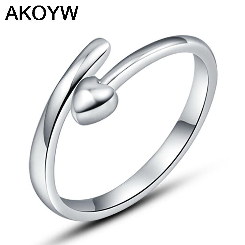 Silver plated heart-shaped ring eternity ring opening men's wild fashion jewelry lady lovely high quality jewelery(China (Mainland))