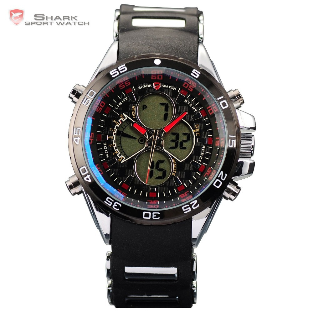 Genuine Leather Luxury Package Leopard Shark Relojes Deportivos Clock Men Rubber Band Alarm Dual Display LED Watch / SH054-057(China (Mainland))