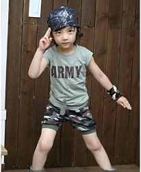Summer boy camouflage suit children camouflage suit with short sleeves with short sleeves(China (Mainland))