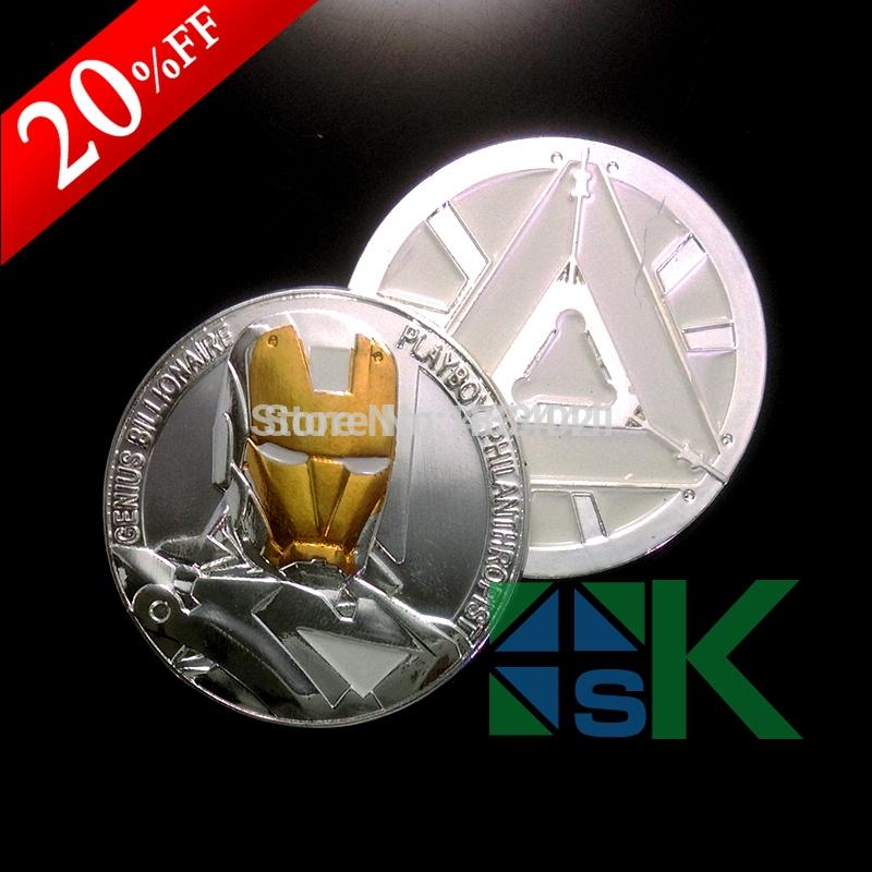 10pcs lot Moive The Avengers Iron Man prime design Challenge Coin 40 3mm zinc alloy with