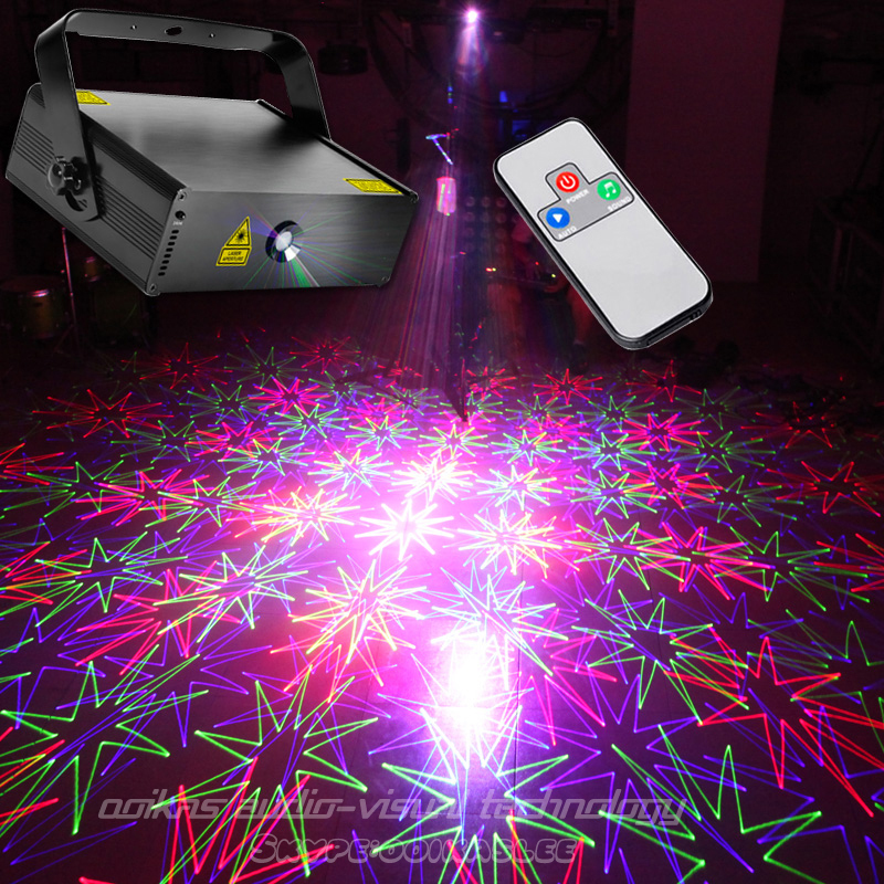 RGB laser projector 100 patterns scanner remote Dance ...