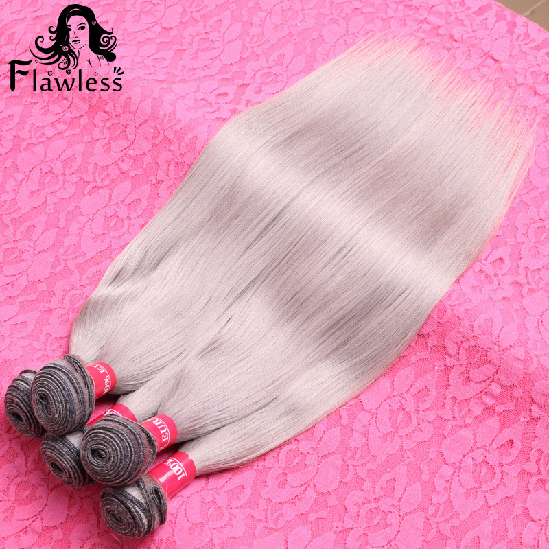 Brazilian Straight Grey Hair Weave 3Pcs Lot Human Hair Weave Extensions Machine Weft Silky Straight Gray Brazilian Hair(China (Mainland))