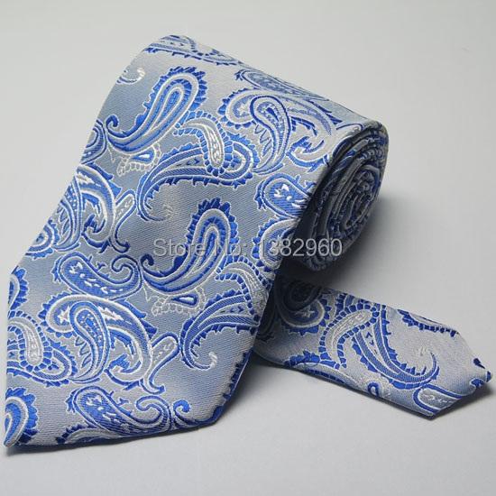 White Blue Paisley Tie